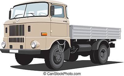 Cargo truck - Vector isolated cargo truck on white...