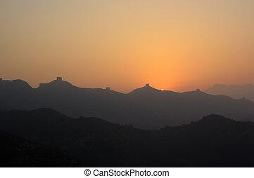 China great wall sunrise