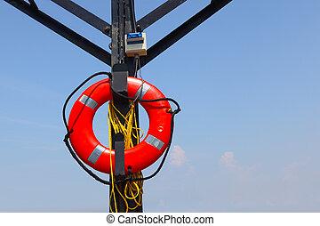 Lifesaver life buoy hanging at Lifeguards place