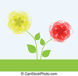 flower9 - Yellow and red flower. A vector illustration