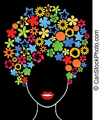 Natural hairdress - Female hairdress from plants. A vector...