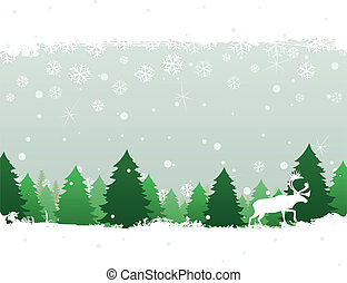 Winter wood - The deer goes on winter wood. A vector...