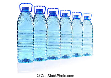plastic bottles of mineral water in a row