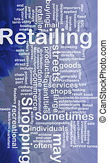 Retailing word cloud - Word cloud concept illustration of...