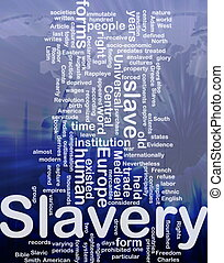 Slavery word cloud - Word cloud concept illustration of...
