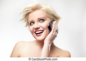 Blonde beauty speaking the phone