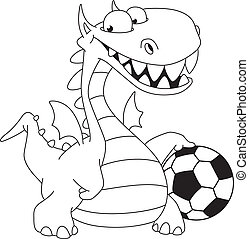 dragon and ball outlined - illustration of a dragon and ball...