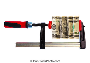 Dollar Bill Pinched In Clamp