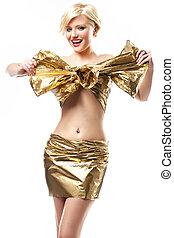 Beautiful woman wearing gold ribbon