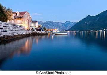 Peaceful lake in Perast, Montenegro - Perast, Montenegro -...