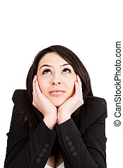 Business pensive woman having an idea - Business happy young...