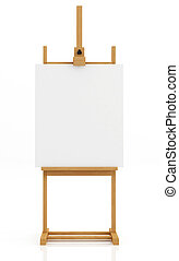 artist easel isolated on white with blank canvas - rendering...