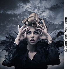 Vogue style photo of a gothic woman