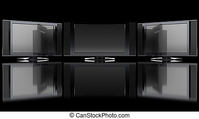 Flat Screen TV against black