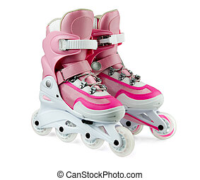 Rollerskates - Pink inline rollerskates isolated on white