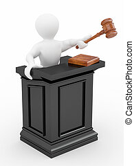 Men with gavel on white isolated background. 3d