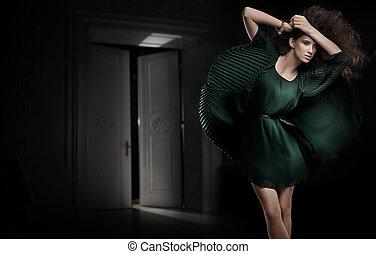 黑暗, 矯柔造作, 房間, 美麗, 年輕