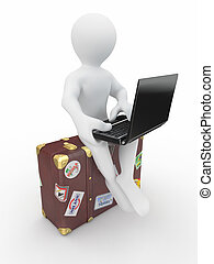 Man with laptop on the luggage 3d