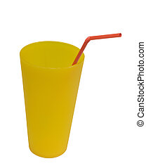reusable plastic cup with red straw