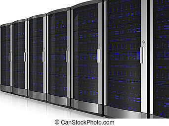 Server room interior isolated on white reflective background...