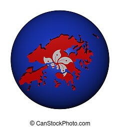 Hong Kong map flag on sphere illustration
