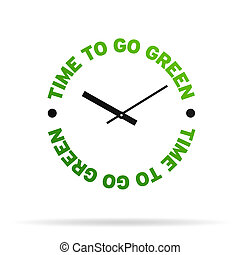 Time to go Green - High resolution clock with the words time...