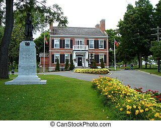 Townhall, Gananoque, Canada - Townhall, statue, garden and...