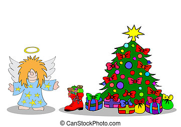 Angel with christmastree