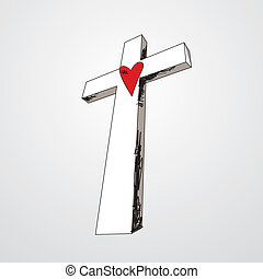 Hand Drawn Cross with Heart - Hand drawn cross with a red...