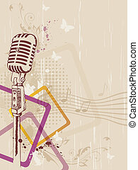 retro microphone - retro music background with microphone...