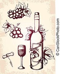 vintage wine icons - hand drawn vector vintage wine icons