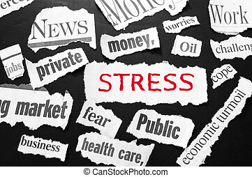 newspaper headlines showing bad news, stress in red