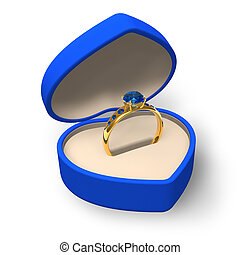 Heart-shape box with golden ring - Blue heart-shape box with...