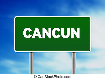 Cancun Highway Sign - High resolution graphic of a cancun...