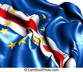 Flag of Cap-Vert against. Close up.
