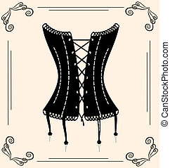 vintage corset - on vintage background is outlines lady's...