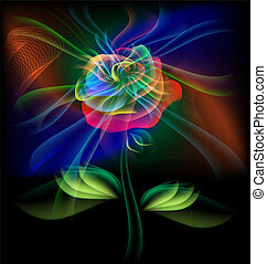 fairy flower - on a black background is multi-colored...