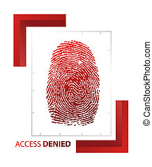 illustration of access denied sign with thumb on isolated...