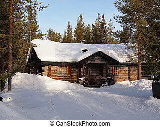 Snow-covered chalet