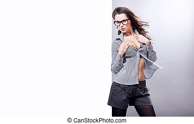 Beautiful sexy businesswoman wearing glasses isolated on...