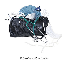 Old Medical Bag - Old black medical bag with a variety of...