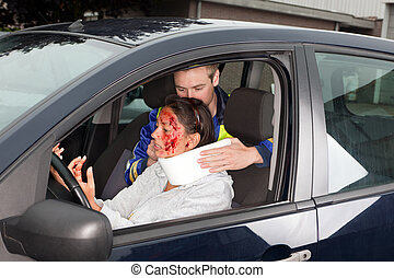 Whiplash - Injured woman in car crash getting a whiplash...