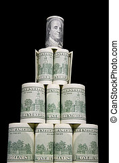 Financial pyramid - It is a lot of dollars as a pyramid on a...