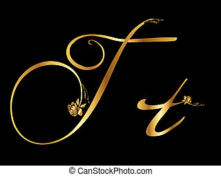 Golden letter T with roses