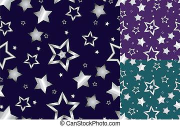 Seamless silver star pattern - Beautiful seamless shiny...