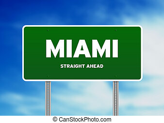 Miami Highway Sign - High resolution graphic of a Miami...