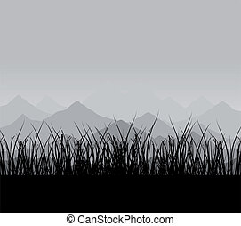 Mountain2 - Mountains in a grey fog. A vector illustration