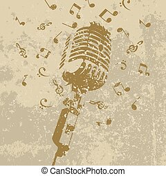 Retro a microphone on a grey background. A vector...