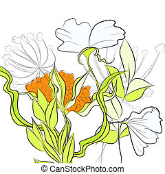 Template for card with summer flowers