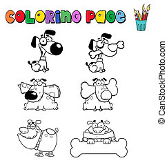 Coloring page with dogs - Collection of six dogs in various...
